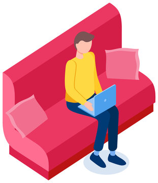Businessman thinking while working on laptop. Work at home with technology and freelance concept. Guy sits on red sofa and looks at computer screen. Male character working remotely vector illustration