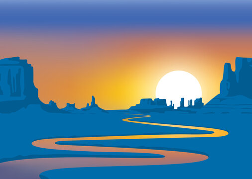 Vector landscape with desert valley, mountains and winding river at sunrise or sunset. Decorative background on the theme of the Wild West nature. Western scenery illustration