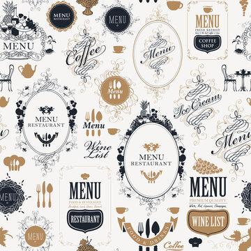 Seamless pattern on the theme of restaurant or cafe menu in retro style. Repeating vector background with vintage ornate frames with curlicues, fruits, inscriptions and elegant design elements