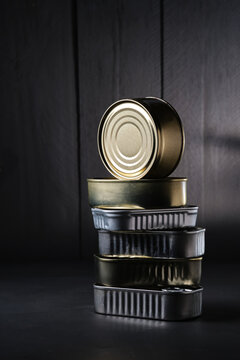 Closed cans of canned food