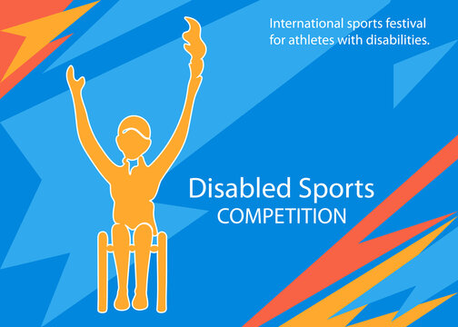 Sports  for athletes with disabilities. Paralympic sportsman. Silhouette disable woman. Vector illustration.