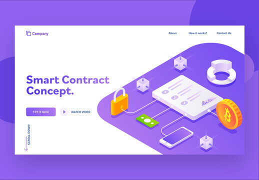 Responsive Landing Page or Hero Image for Smart Contract Concept Isometric Design