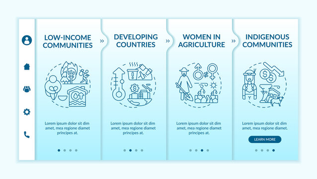 Low-income communities onboarding vector template. Responsive mobile website with icons. Women in agriculture. Developing countries. Webpage walkthrough 4 step screens. RGB color concept