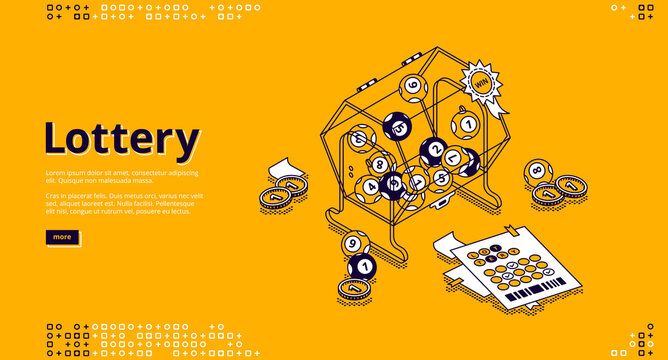 Lottery banner. Gambling, win in bingo games concept. Vector landing page of games of luck with isometric illustration of lotto machine, balls with numbers, tickets and money