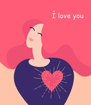 I love you. Saint Valentine's Day greeting card.  Love yourself concept. Woman with big shining heart. Smiling girl with pink hair and quote. Love message. Cute banner. Happy mother, mom in love.
