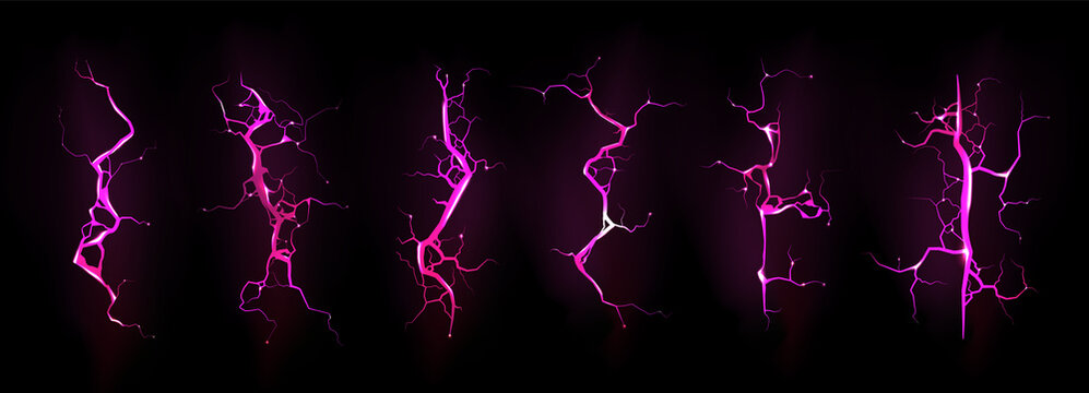 Lightning, electric thunderbolt strike during night storm, impact, crack, magical energy flash of pink color. Powerful electrical discharge isolated on black background, Realistic 3d vector bolts set