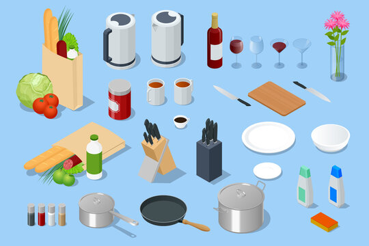Isometric Electric Kettle, different food in paper bag, Knives in the Wooden Block, Glass Goblets, glass vase, spices in glass and metal jars, stainless pots and pan with glass lids isolated on white