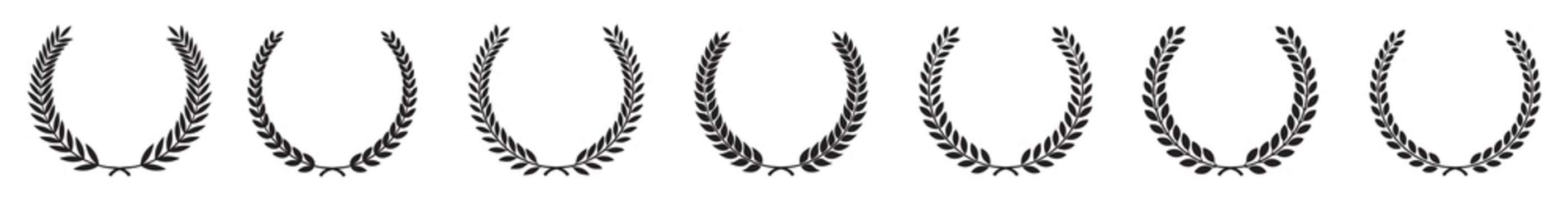 Set black silhouette circular laurel foliate isolated on white background, depicting an award, achievement, heraldry, nobility, Emblem floral greek branch flat style