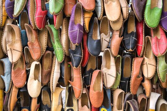 Traditional turkish leather shoes named yemeni colorful background