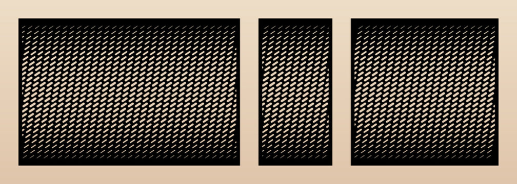 Laser cut pattern set. Vector design with trendy geometric ornament, halftone grid, gradient effect. Template for cnc cutting, decorative panels of wood, metal, plywood. Aspect ratio 1:2, 1:1, 3:2