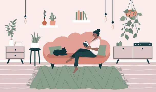 Smiling woman sitting on sofa. Relaxed female reading book in cozy room, home interior with plants, cat. Vector illustration