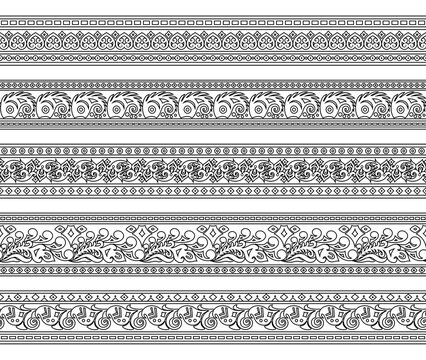 Abstract ethnic nature seamless line art stripes set