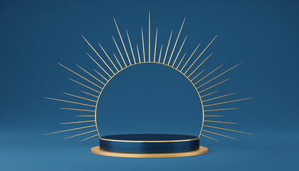 Empty blue cylinder podium with gold border and spiked halo circle on blue background. Abstract minimal studio 3d geometric shape object. Pedestal mockup space for luxury display. 3d rendering.