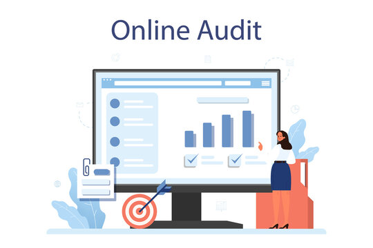 Audit online service or platform. Business operation research and analysis.