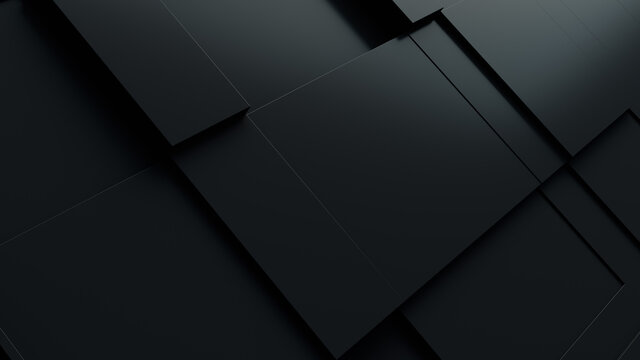 Dark tech background, with a geometric 3D structure. Clean, minimal design with simple black futuristic forms. 3D render