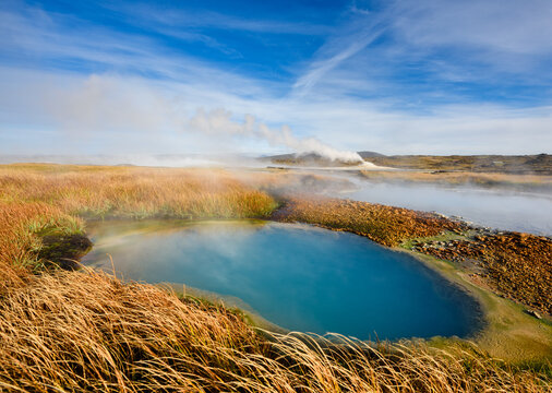 Amazing geothermal area on sunny day