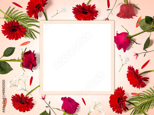 Creative flower composition made of red flowers with copy space, rectangular shape, flower background, happy valentine's day, mother's day, flat lay, top view