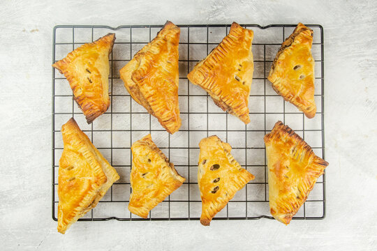Apple turnover with salted caramel sauce