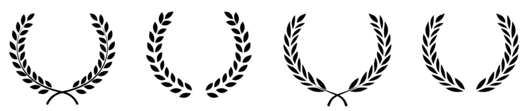 Set of black circular foliate laurels branches.Laurel wreath.Silhouette laurel wreath. Heraldic trophy crest, Greek and Roman olive branch award, winner round emblem. Vector black laurels set