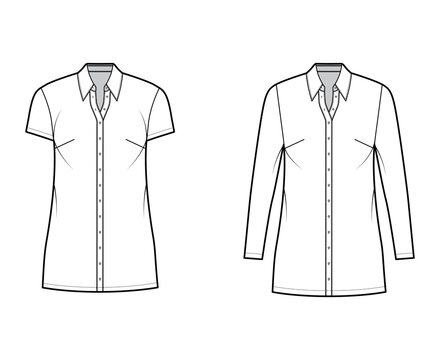 Shirt dress technical fashion illustration with classic regular collar, mini length, oversized body, button up. Flat apparel template front, white color. Women, men, unisex CAD mockup