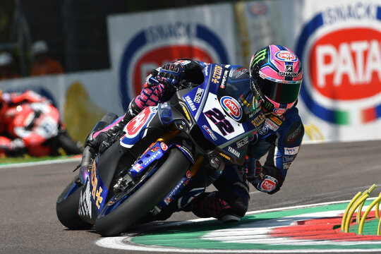 San Marino Italy - May 11, 2018: Alex Lowes GBR Yamaha YZF R1 Pata Yamaha Official WorldSBK Team, in action during the Superbike Qualifying session on May 11, 2018 in Imola Circuit, Italy.