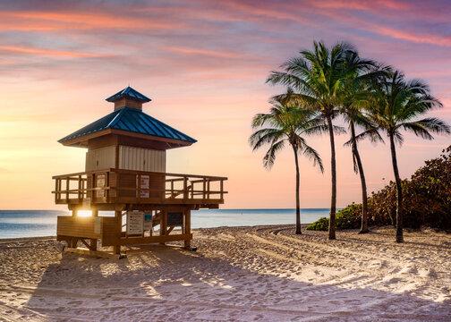 Lifeguard House,.Sunny Isles Beach,Miami.South Florida,USA