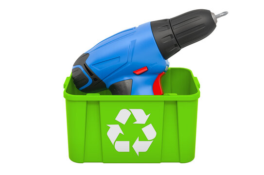 Recycling trashcan with screw gun, 3D rendering