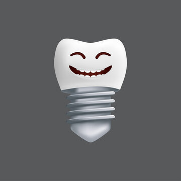 Smiling tooth with a metal implant. Cute character with facial expression. Funny icon for children's design. 3d realistic vector illustration of a dental ceramic model isolated on a grey background