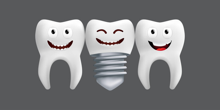 Smiling teeth with metal implant. Cute character with facial expression. Funny icon for children's design. 3d realistic vector illustration of a dental ceramic model isolated on a grey background