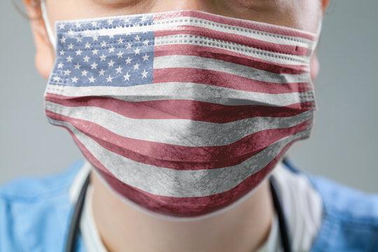 USA flag printed on face mask