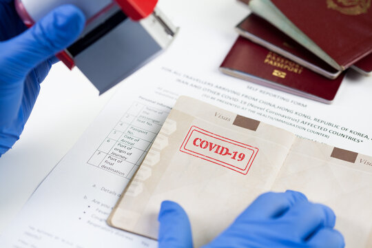 COVID-19 red stamp in passport