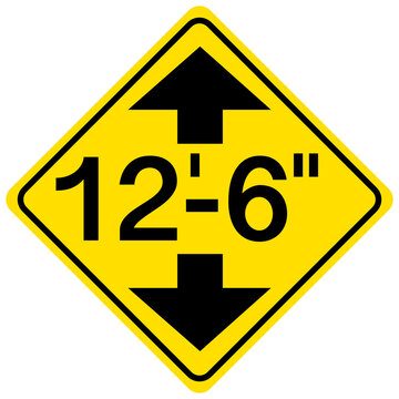 Low clearance traffic sign on white background