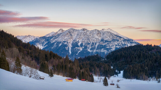 Geroldsee in Southern Bavaria , Germany, during Sunset in Winter 2021