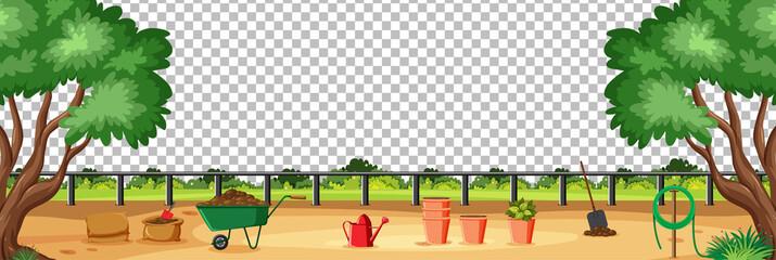 Blank nature garden with garden tools scene landscape on transparent background