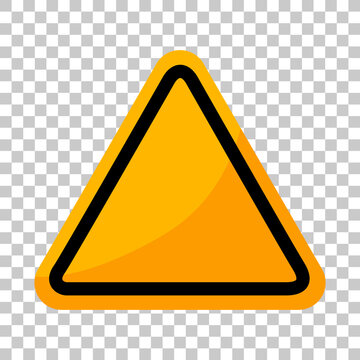 Empty yellow traffic sign on transparent background