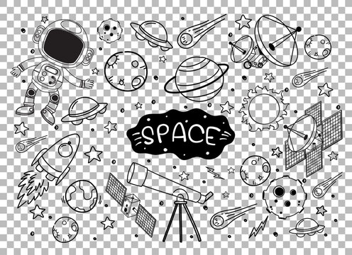 Hand drawn space element doodle on transparent background