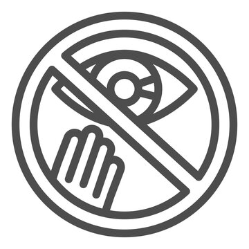 Prohibition of touching the eyes line icon, Corona downturn concept, covid-19 prevention sign on white background, avoid touching face icon in outline style for mobile. Vector graphics.