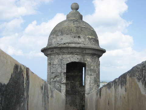 look out turret old fort wall san juan puerto rico