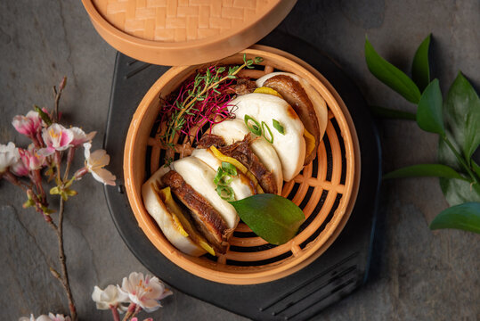Steamed Bao Buns Filled with Pork