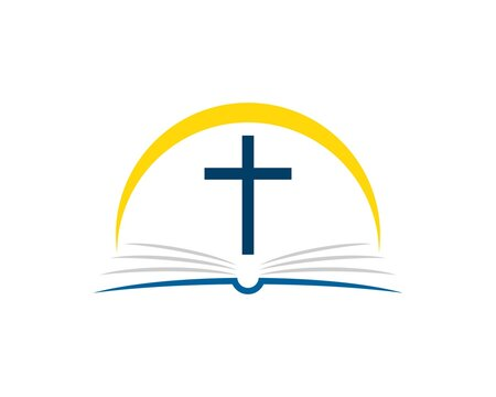 Abstract book with religion cross and yellow swoosh