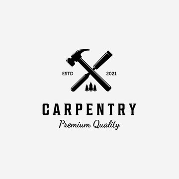 Design of Carpentry Logo Vector, Handcraft Concept with Hammer and Chisel, Vintage Illustration of Wood working