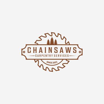 Carpentry and Wood saw Logo Vector, Chainsaws Line art Vintage Illustration, Carpenter and Wood Working Concept Design