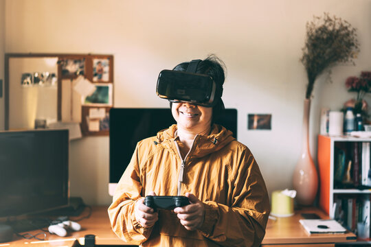 Elder woman people wear virtual reality headset for modern lifestyle experience.