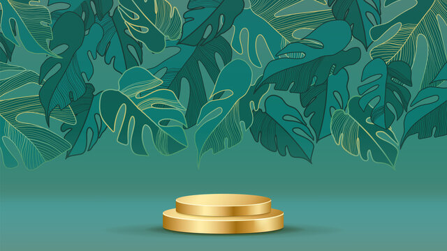 Luxury gold wall arts design with 3d cylinder podium background vector. Abstract minimal scene with gold botanical pattern for cosmetic product display, Stage pedestal for online shopping ad.