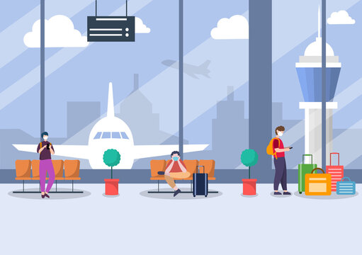 New norma, Vector illustration People in Masks Sitting in Airport Interior Terminal, Business Travel Concept. Flat design.