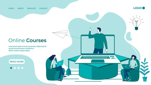 Online Courses.Online education.The concept of getting an education through a video conference.Advanced training courses online.People use a laptop and an online connection to get an education.