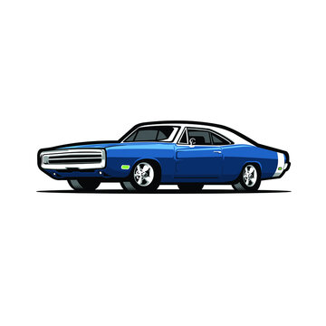 Blue 79's American Muscle Car vector image isolated