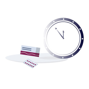 Watches and pills. Time of taking medications or vitamins. The concept of an accurate timetable for treatment or prevention. Medicine and pharmacy. Vector illustration. Flat style.