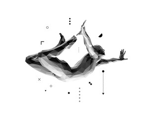 Jumping man. Man in zero gravity. Guy is flying or falling in the air. 3D vector illustration.