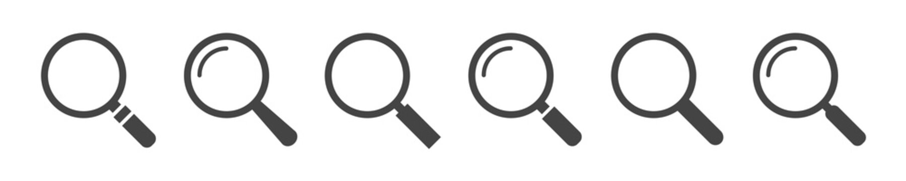 Search icons. Find icons. Magnifying glass icons. Magnifier or loupe sign set. Vector illustration.